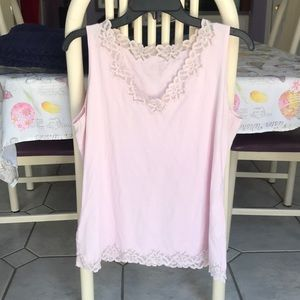 Pink Lace Trimmed Tank Top